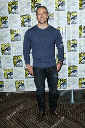 """Dylan Bruce attends the """"Heroes Reborn"""" press line on day 4 of Comic-Con International, in San Diego"""