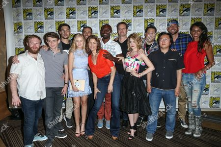 "Actors Henry Zebrowski, Robbie Kay, Ryan Guzman, Danika Yarosh, Dylan Bruce, Rya Kihlstedt, Jimmy Jean-Louis, Jack Coleman, Gatlin Green, Greg Grunberg, Masi Oka, Zachary Levi and Judi Shekoni attend the ""Heroes Reborn"" press line on day 4 of Comic-Con International, in San Diego"