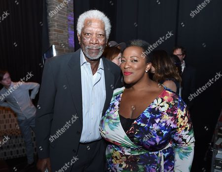 Morgan Freeman, left, and Frenchie Davis attend Backstage at the Geffen, in Los Angeles