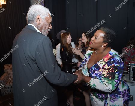 Stock Picture of Morgan Freeman, left, and Frenchie Davis attend Backstage at the Geffen, in Los Angeles