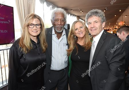 Cindy Horn, from left, Morgan Freeman, Lori McCreary, and Alan Horn attend Backstage at the Geffen, in Los Angeles