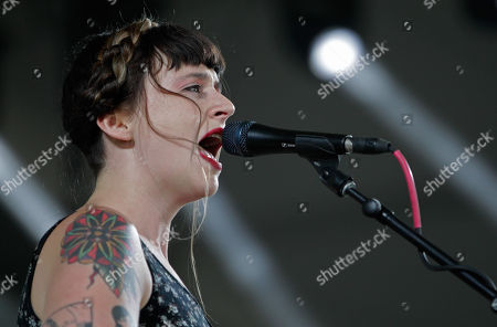 Katie Crutchfield of the band Waxahatchee performs at the Bonnaroo Music and Arts Festival, in Manchester Tenn