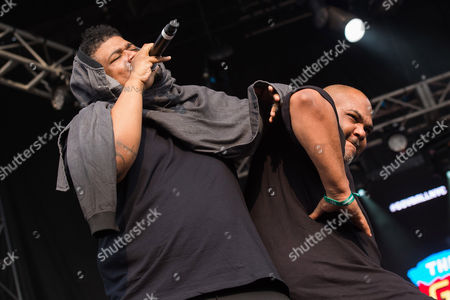 David Jude Jolicoeur, left, and Vincent Mason from the band De La Soul perform on day two of the Governors Ball Music Festival, in New York