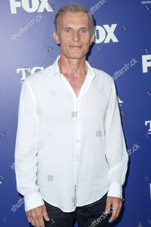 """Richard Sammel, a cast member in the television series """"The Strain,"""" arrives at the Fox Television Critics Association summer press tour, in Beverly Hills, Calif"""