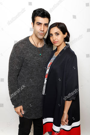 """Actors Bobby Naderi, left, and Narges Rashidi pose for a portrait to promote the film, """"Under the Shadow"""", at the Toyota Mirai Music Lodge during the Sundance Film Festival on in Park City, Utah"""