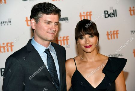 """Stock Image of Mike Schur, left, and Rashida Jones, co-writers of the """"Black Mirror"""" episode """"Nosedive,"""" pose together at the premiere of the new season of the television series on day 5 of the Toronto International Film Festival at Ryerson Theatre, in Toronto"""