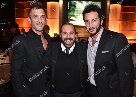 Davis Factor, from left, left, Michael Baruch and Tommy Alastra attend the 21st Annual ETTA Gala held at The Beverly Hilton, in Beverly Hills, Calif