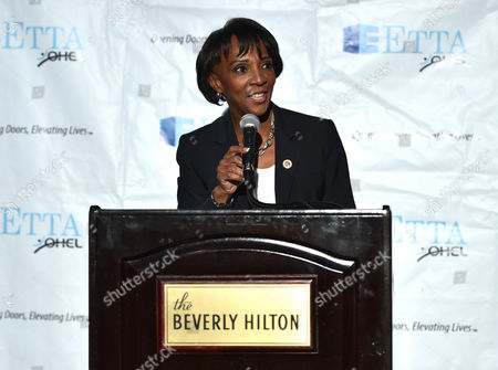 Jackie Lacey, Los Angeles District Attorney, speaks at the 21st Annual ETTA Gala held at The Beverly Hilton, in Beverly Hills, Calif