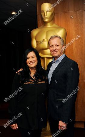 Co-hosts Barbara Kopple, left, and Rob Epstein pose together at a reception featuring the Oscar nominees in the Documentary Feature and Documentary Short Subject categories, in Beverly Hills, Calif. The Oscars will be held on Sunday at the Dolby Theatre in Los Angeles