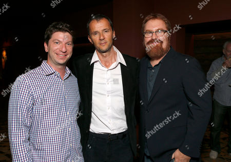 """RJ Cutler, IDA Board Vice President Adam Chapnick and Executive Producer John Battsek attend the A&E IndieFilm's """"The Imposter"""" Screening Presented by the IDA at Sundance Sunset Theater,, in Los Angeles"""