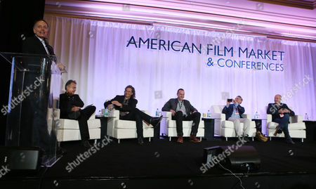 Jonathan Wolf, and from left, Russell Schwartz, Richard Abramowitz, Nicolas Gonda, Adam Leipzig and Sam Toles attend the 2014 American Film Market (AFM) Distribution Conference at the Fairmont Hotel on Tuesday, Nov. 11, in Santa Monica, Calif