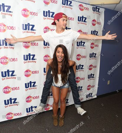 Alex Kinsey, left, and Sierra Deaton of the pop duo Alex & Sierra visit radio station Mix 106 Performance Theater, in Philadelphia
