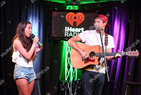 Sierra Deaton, left, and Alex Kinsey of the pop duo Alex & Sierra visit radio station Mix 106 Performance Theater, in Philadelphia