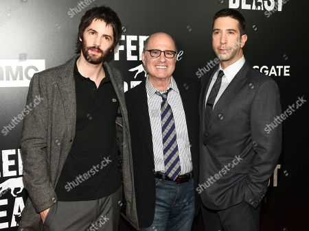 """Stock Photo of Jim Sturgess, from left, Clyde Phillips and David Schwimmer attend the premiere screening of AMC's new series, """"Feed The Beast"""", at the Angelika Film Center, in New York"""
