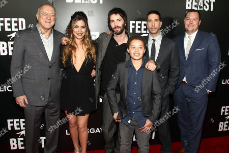 "John Doman, from left, Lorenza Izzo, Jim Sturgess, and Elijah Jacob, David Schwimmer and Michael Gladis attend the premiere screening of AMC's new series, ""Feed The Beast"", at the Angelika Film Center, in New York"