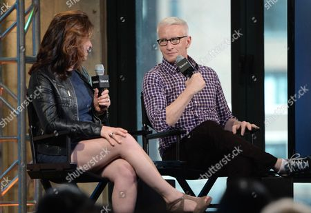 "Producer Liz Garbus, left, and CNN News anchor Anderson Cooper participate in AOL's BUILD Speaker Series to discuss the HBO documentary, ""Nothing Left Unsaid: Gloria Vanderbilt & Anderson Cooper"", at AOL Studios, in New York"