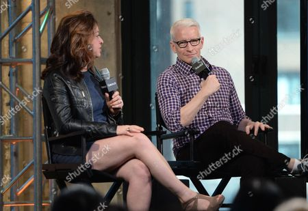 "Stock Photo of Producer Liz Garbus, left, and CNN News anchor Anderson Cooper participate in AOL's BUILD Speaker Series to discuss the HBO documentary, ""Nothing Left Unsaid: Gloria Vanderbilt & Anderson Cooper"", at AOL Studios, in New York"