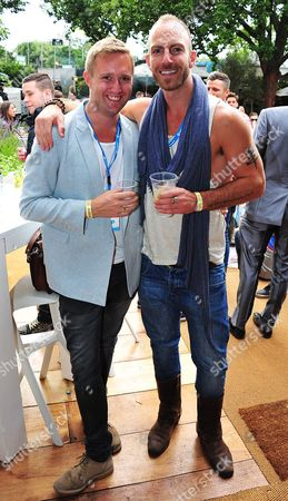 Dean Piper and James Ingham (R) attendthe Barclaycard Unwind Lounge at Day 2 of the Barclaycard Wireless Festival, in London, United Kingdom