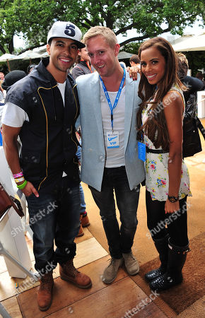 Rochelle Wiseman of the Saturdays and Marvin Humes of JLS with Dean Piper (C) attend the Barclaycard Unwind Lounge at Day 2 of the Barclaycard Wireless Festival, in London, United Kingdom