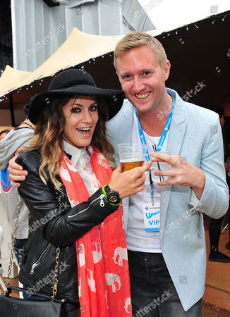 Caroline Flack and Dean Piper attend the Barclaycard Unwind Lounge at Day 2 of the Barclaycard Wireless Festival, in London, United Kingdom