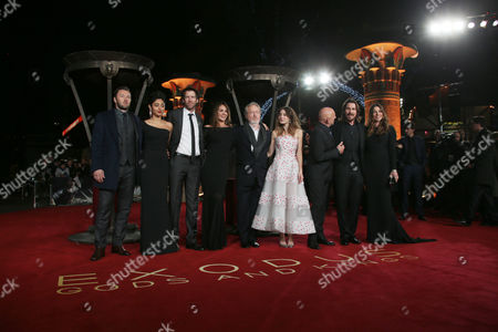 Stock Image of Actors Joel Edgerton, Golshifteh Farahani, Andrew Tarbet, Giannina Facio, director Ridley Scott and actors Maria Valverde, Sir Ben Kingsley, Christian Bale and Sibi Blazic pose for photographers upon arrival at the World premiere of the film Exodus: Gods And Kings in London