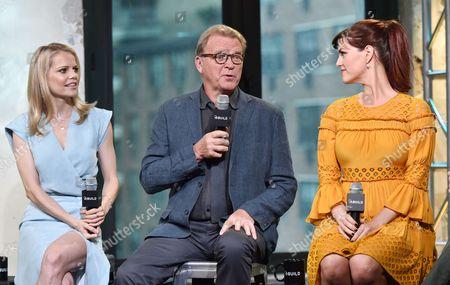 "Actors Mircea Monroe, left, David Rasche, and Sara Rue participate in the BUILD Speaker Series to discuss the television series ""Impastor"" at AOL Studios, in New York"