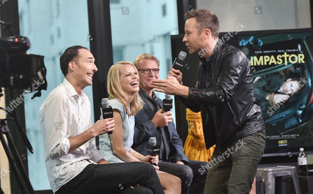 "Actors Mike Kosinski, left, Mircea Monroe, David Rasche and Michael Rosenbaum participate in the BUILD Speaker Series to discuss the television series ""Impastor"" at AOL Studios, in New York"