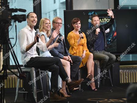 "Actors Mike Kosinski, left, Mircea Monroe, David Rasche, Sara Rue and Michael Rosenbaum participate in the BUILD Speaker Series to discuss the television series ""Impastor"" at AOL Studios, in New York"