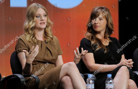 """Romola Garai, left, a cast member in the Starz miniseries """"The Crimson Petal and the White,"""" takes part in a Starz TCA panel discussion along with the miniseries writer Lucinda Coxon at the Beverly Hilton on in Beverly Hills, Calif"""