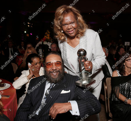 """Stock Picture of Eddie Holland and Honoree Janie Bradford arrive at CARRY Foundation's 7th Annual """"Shall We Dance"""" Gala at The Beverly Hilton Hotel on in Beverly Hills, California"""