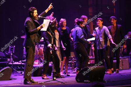 "Devendra Banhart performs at the Celebration Of The 60th Anniversary Of Allen Ginsberg's ""Howl"" at the Theatre at Ace Hotel, in Los Angeles"