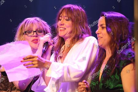 "Courtney Love, from left, Beth Orton and Petra Haden perform at the Celebration Of The 60th Anniversary Of Allen Ginsberg's ""Howl"" at the Theatre at Ace Hotel, in Los Angeles"