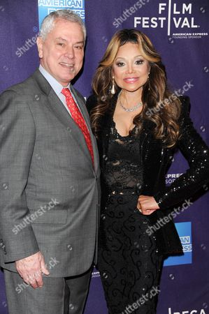 """The subject of the film Pierre Dulaine, left, and executive producer Latoya Jackson attend the """"Dancing In Jaffa"""" premiere during the 2013 Tribeca Film Festival on in New York"""