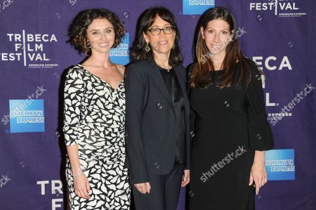 """Stock Image of Producers Neta Zwebner-Zailbert, left, and Diane Nabatoff pose with director Hilla Medalia, right, at the """"Dancing In Jaffa"""" premiere during the 2013 Tribeca Film Festival on in New York"""