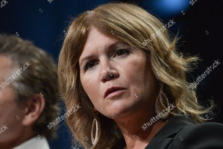 """Tracey Gold speaks onstage at the """"Heartbreakers"""" portion of the Discovery 2014 Summer TCA, in Beverly Hills, Calif"""