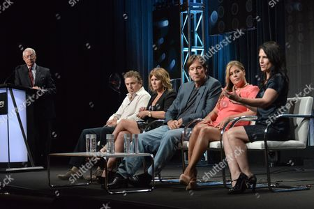 "From left, Henry S. Schleiff, Christopher Knight, Tracey Gold, Kevin Sorbo, Nicole Eggert, and Pamela Deutsch speak onstage at the ""Heartbreakers"" portion of the Discovery 2014 Summer TCA, in Beverly Hills, Calif"