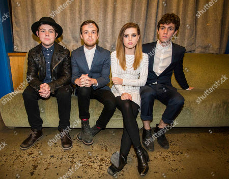 Jamie Sierota, Noah Sierota, Sydney Sierota and Graham Sierota with Echosmith backstage at The Loft, in Atlanta