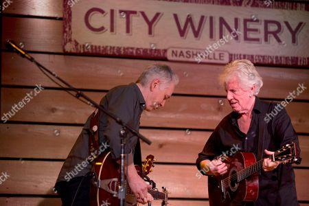 Stock Image of From left, Shane Fontayne and Graham Nash perform at City Winery Nashville, in Nashville, Tenn