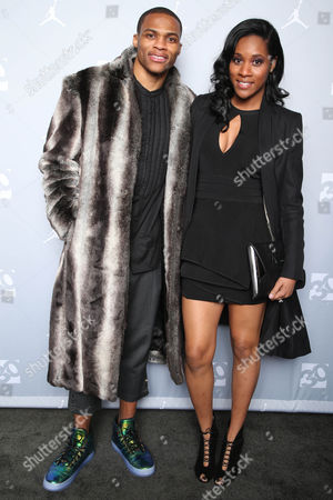 IMAGE DISTRIBUTED FOR JORDAN BRAND - Russell Westbrook and Nina Earl attend the Jordan Brand 30 Years of Greatness Celebration on in New York