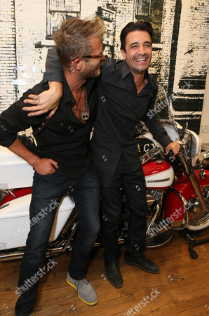 Johann Urb, left, and Gilles Marini attend Kiehl's x Makos Exhibit and Auction for OCRF at Kiehl's on Robertson, in Los Angeles