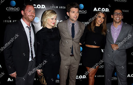 "From left, Ben Karlin, Amy Poehler, Adam Scott, Jessica Alba, and Stu Zicherman pose together at the premiere of ""A.C.O.D."" at the Landmark Theatre on in Los Angeles"