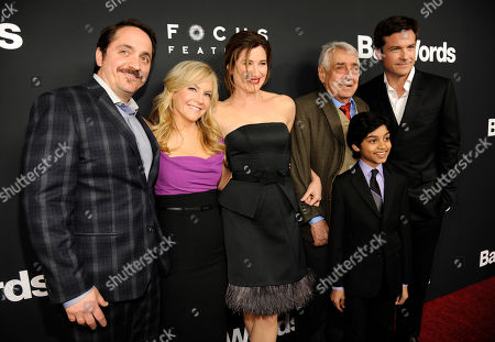 "Jason Bateman, far right, director and a cast member in ""Bad Words,"" poses with fellow cast members, from left, Ben Falcone, Rachael Harris, Kathryn Hahn, Philip Baker Hall and Rohan Chand at the premiere of the film on in Los Angeles"