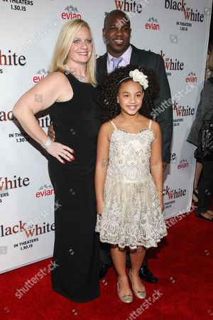 "Actress Jillian Estell and parents Krisin and David Estell attend the Los Angeles Premiere of ""Black or White"" held at Regal Cinemas, in Los Angeles"