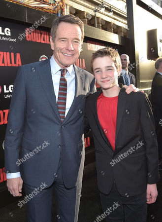 "Stock Image of Bryan Cranston and CJ Adams arrive at the LA Premiere of ""Godzilla"" at Dolby Theatre on in Los Angeles"