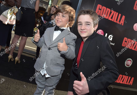 "Stock Photo of Carson Bolde and CJ Adams arrive at the LA Premiere of ""Godzilla"" at Dolby Theatre, in Los Angeles"