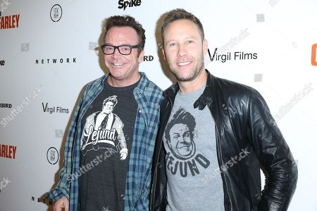 "Tom Arnold, left, and Michael Rosenbaum arrive at the LA Premiere of ""I Am Chris Farley"" at the Linwood Dunn Theater, in Los Angeles"