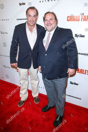 "John Farley, left, and Kevin Farley arrive at the LA Premiere of ""I Am Chris Farley"" at the Linwood Dunn Theater, in Los Angeles"