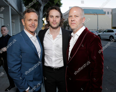 Executive Producer Dante Di Loreto, Taylor Kitsch and Executive Producer Ryan Murphy attend the Los Angeles premiere of HBO's 'The Normal Heart' at The Writers Guild Theatre on in Beverly Hills, California