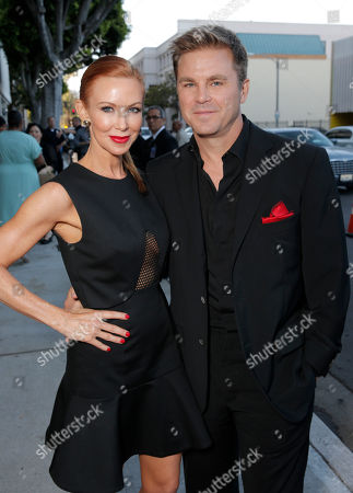 Challen Cates and Aaron McPherson attend the Los Angeles premiere of HBO's 'The Normal Heart' at The Writers Guild Theatre on in Beverly Hills, California
