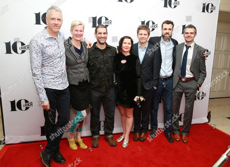 Nelson Lowry, Georgina Hayns, Brad Schiff, Deborah Cook, Steve Emerson, Brian McLean and Ollie Jones seen at the LAIKA 10th Anniversary Party at The London Hotel, in West Hollywood, Calif
